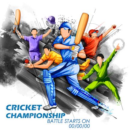 Batsman and bowler playing cricket championship sports.