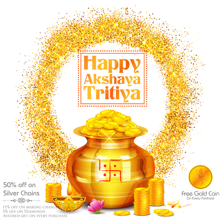 mangal: Illustration of background for Happy Akshay Tritiya celebration