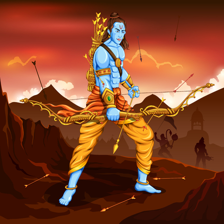 Lord Rama with arrow. Ravana