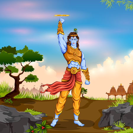 Lord Krishana holding Sudarshan Chakra in Happy Janmashtami Illustration