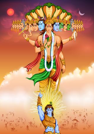 mahabharata: Lord Krishana showing Vishvarupa Darshan Illustration