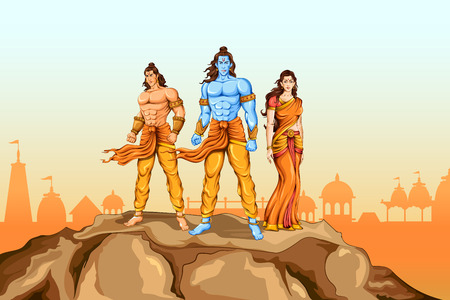 Lord Rama, Sita and Laxmana in Dussehra poster Illustration
