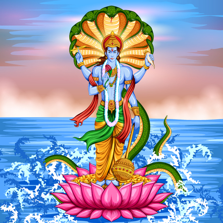 Lord Vishnu debout sur le lotus donnant bénédiction Banque d'images - 76584849