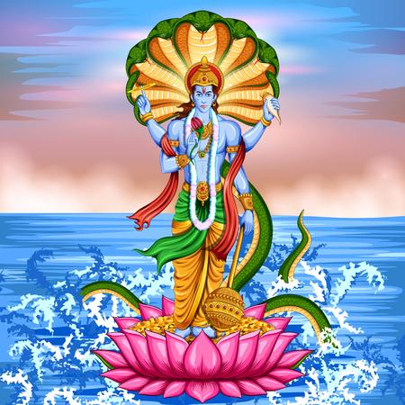 Señor Vishnu de pie sobre loto dando bendición Ilustración de vector