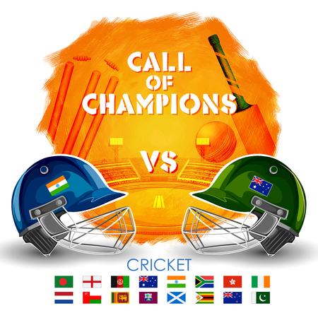 innings: Player helmet on cricket background.