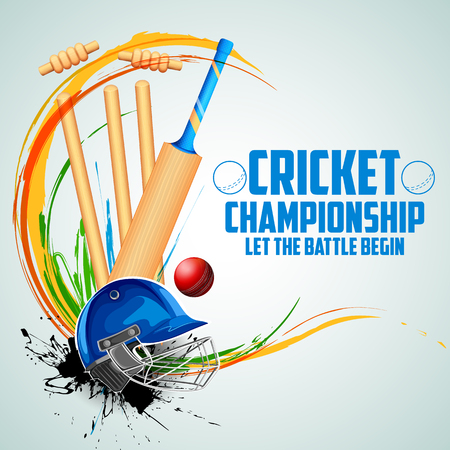 innings: Player bat, ball and helmet on cricket sports background.