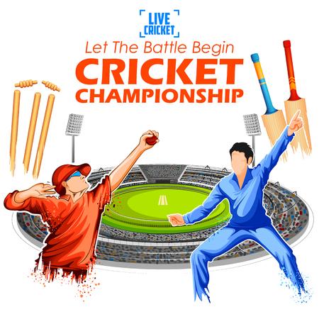 Batsman en bowler spelen cricket kampioenschap sporten.
