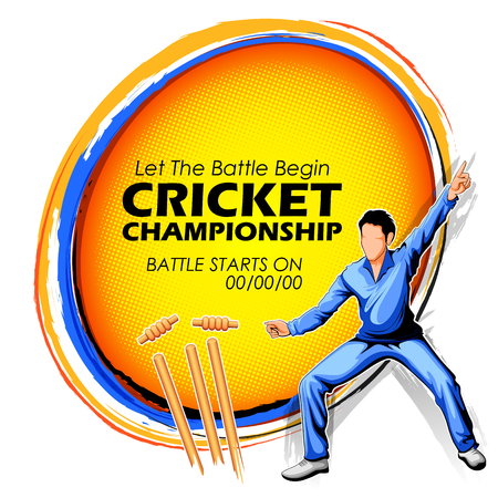 cricketer: Player fielding in cricket championship sports.