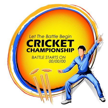 Spieler Fielding in Cricket Championship Sport. Vektorgrafik