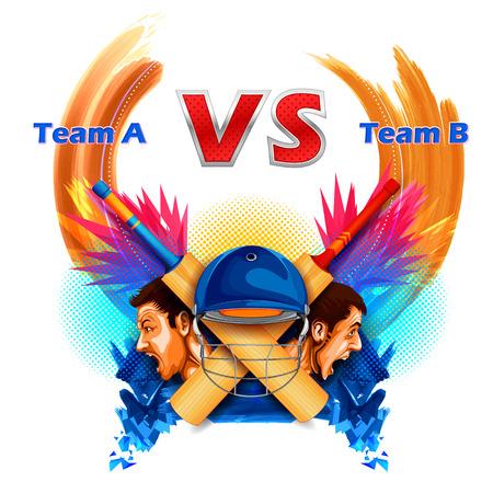 venganza: Jugadores del grillo del campeonato del grillo y VS contra. Vectores