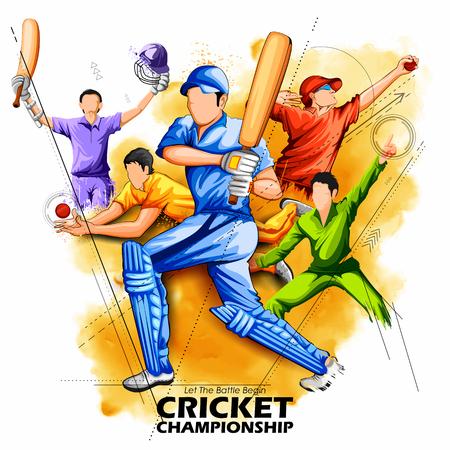 Batsman and bowler playing cricket championship. Illustration