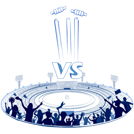 Stadium of Cricket with pitch for champoinship match. Illustration