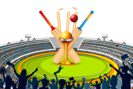 Stadium of Cricket with Bat, wicket and Trophy. Illustration