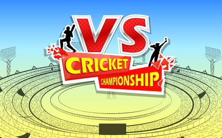 Stadium of Cricket with pitch and VS versus text. Illustration
