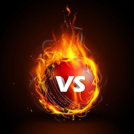 Fiery ball for Cricket Championship with VS versus text.