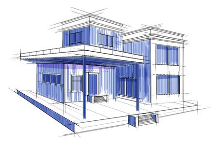 city: Sketch of exterior building draft blueprint design