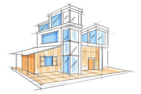 apartment: Sketch of exterior building draft blueprint design