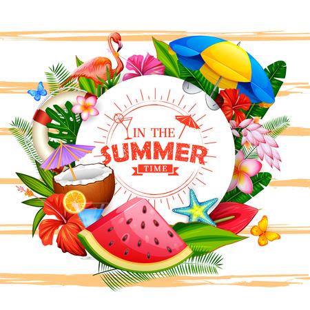재미있는 파티 초대장을위한 여름 시간 포스터 벽지 일러스트