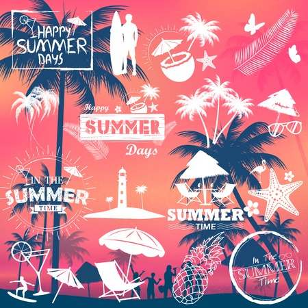 holiday background: Summer time poster wallpaper for fun party invitation banner template