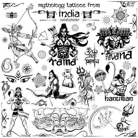 Tattoo art design of Lord Rama, Ravana and Hanuman collection Illustration
