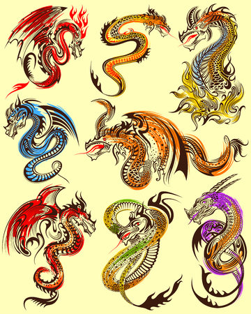 illustration of Tattoo art design of Furious Dragon collection