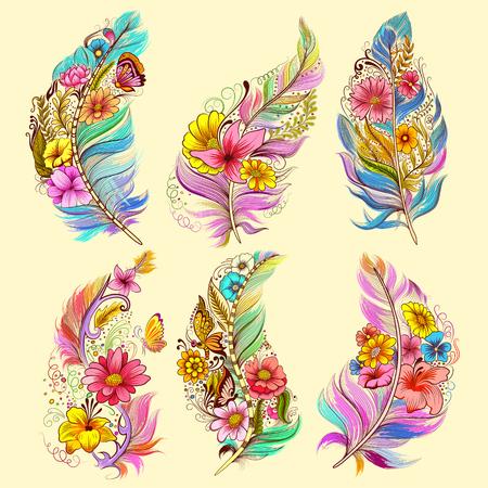 Ilustración del diseño del arte del tatuaje de la colección floral de la pluma