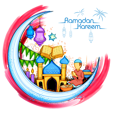Eid Mubarak Happy Eid background for Islam religious festival on holy month of Ramazan Illustration