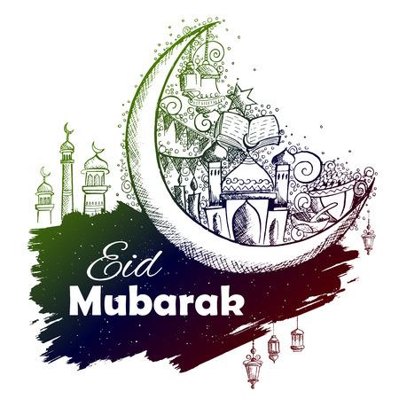 illustration of Eid Mubarak Happy Eid background for Islam religious festival on holy month of Ramazan