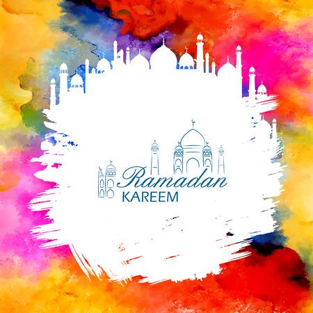 Ramadan Kareem Generous Ramadan greetings in Arabic freehand with mosque