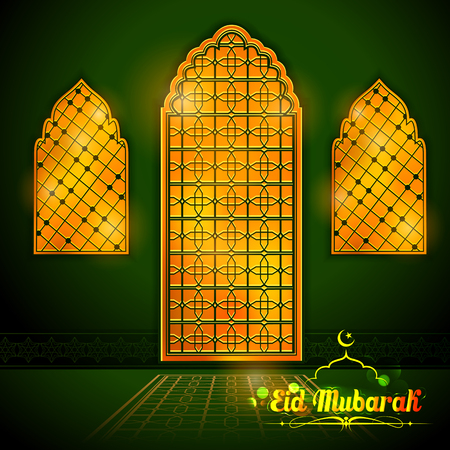 happy: Eid Mubarak Happy Eid greetings with Arabic decorated golden gate background for Islam religious festival on holy month of Ramazan