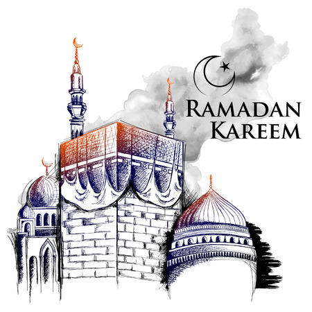 Ramadan Kareem Generous Ramadan greetings for Islam religious festival Eid with freehand sketch Mecca building