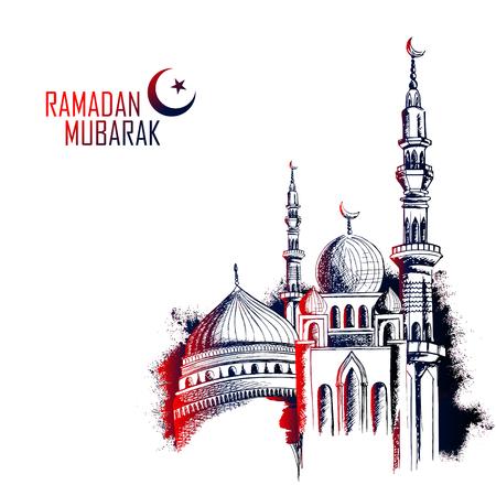 Ramadan Kareem Generous Ramadan greetings in Arabic freehand with mosque Vectores