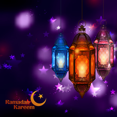 Illustration of Ramadan Kareem Generous Ramadan greetings for Islam religious festival Eid with illuminated lamp Illustration