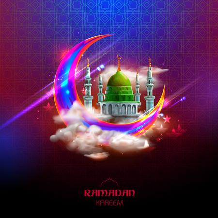 Ramadan Kareem慷慨的斋月在阿拉伯徒手徒卖带清真寺