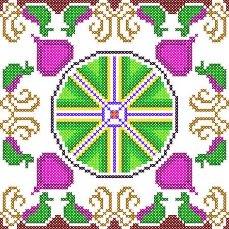 punto de cruz: Cross Stitch Embroidery floral design for seamless pattern texture