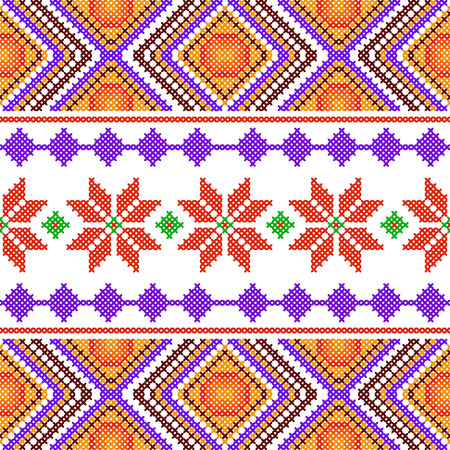 Cross stitch embroidery geometrical design for  pattern texture. Illustration