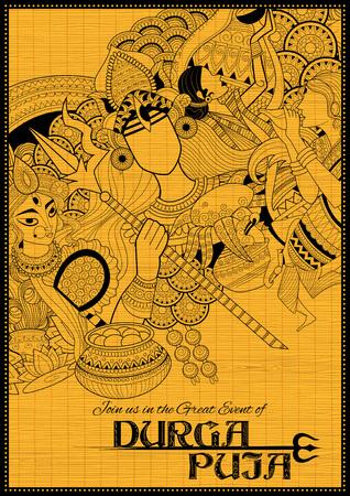 bengal: Goddess Durga in Subho Bijoya Happy Dussehra background