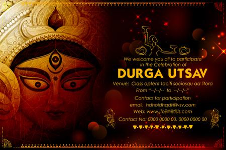 Göttin Durga in Subho Bijoya Happy Dussehra Hintergrund Standard-Bild - 81186533