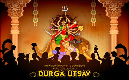 Goddess Durga in Subho Bijoya Happy Dussehra