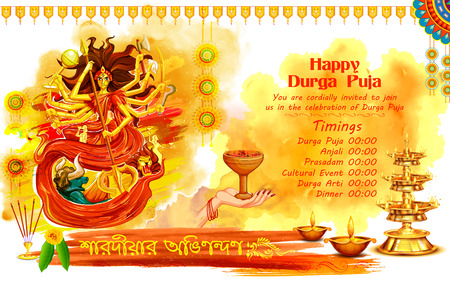 Illustration of Goddess Durga in Happy Dussehra