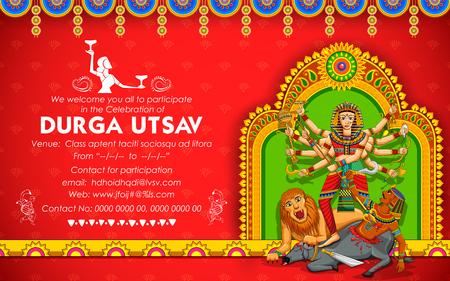 Goddess Durga in Subho Bijoya Happy Dussehra background Stock Vector - 81186598