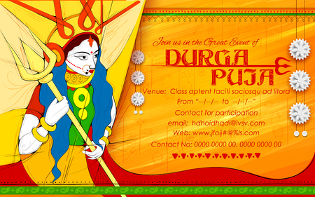 Goddess Durga in Subho Bijoya Happy Dussehra
