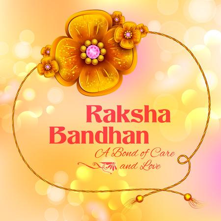 girl: Greeting card with Decorative Rakhi for Raksha Bandhan background