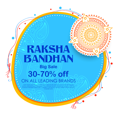 Sale and promotion banner poster with Decorative Rakhi for Raksha Bandhan, Indian festival of brother and sister bonding celebration