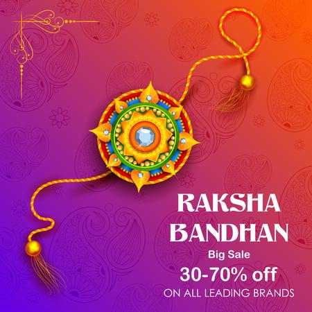 Sale and promotion banner poster with Decorative Rakhi for Raksha Bandhan.