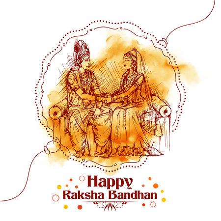 Subhadra tying Rakhi to Krishna on Raksha Bandhan