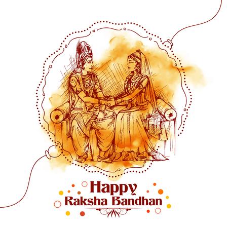 Subhadra tying Rakhi to Krishna on Raksha Bandhan Vector Illustration