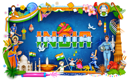 India background showing its incredible culture and diversity with monument, dance festival Illustration