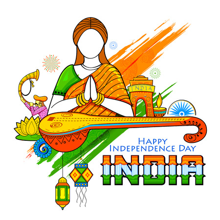 인도의 행복 한 독립 기념일을 바라는 namaste 제스처를 하 고 여자와 인도 백그라운드의 그림