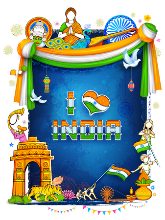 De achtergrond die van India zijn ongelooflijke cultuur en diversiteit met monument tonen, dansfestival